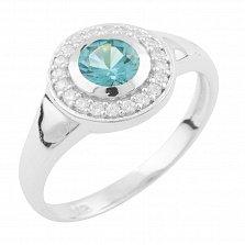 Серебряное кольцо Фая с топазом лондон и фианитами