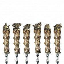 Набор шампуров Дикие животные с рукоятками из кленового капа и бронзы в кожаном чехле