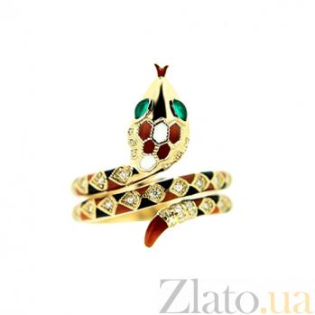 Кольцо из желтого золота с изумрудами, эмалью и бриллиантами Мудрая 000029531