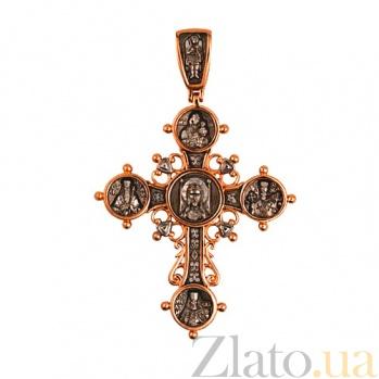 Золотой крестик с черным и белым родием Лучезарный VLT--КС3007-1
