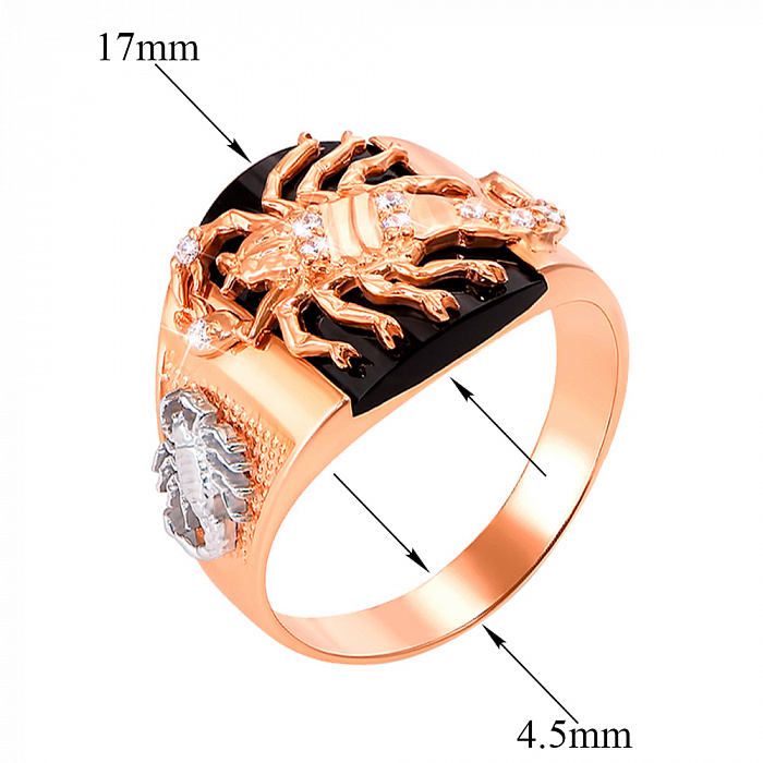Золотой перстень-печатка Скорпион в комбинированном цвете с черным ониксом и фианитами 19058/01/1/877