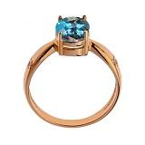 Кольцо в красном золоте Жаклин с голубым топазом и фианитами