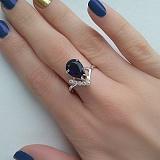 Серебряное кольцо с альпинитом и фианитами Ночное море