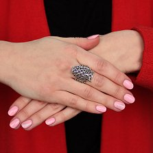 Серебряное широкое ажурное кольцо Сова с черенением