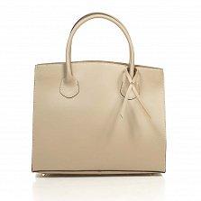 Кожаная деловая сумка Genuine Leather 8983 цвета светлый тауп на кнопке с подвеской из кожи