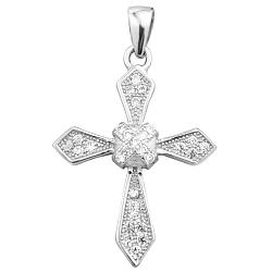 Декоративный серебряный крестик с фианитами 000125170