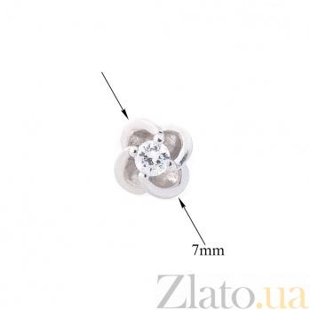 Серебряные серьги-пуссеты Элси с цирконием 000080148