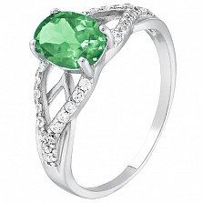 Серебряное кольцо Тропикана с изумрудом и фианитами