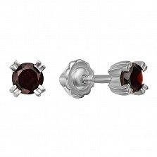 Серебряные серьги-пуссеты с гранатами 000122921