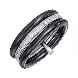 Кольцо из серебра и керамики с фианитами 000147506