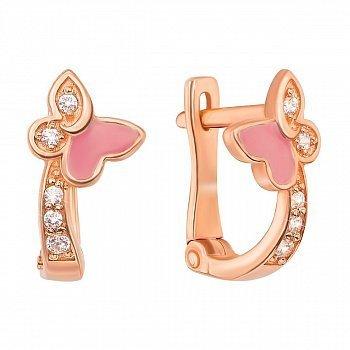 Золотые серьги с дорожками фианитов и розовой эмалью 000095122