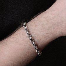 Серебряный браслет Ллойд с фактурными чернеными звеньями, 7,5мм