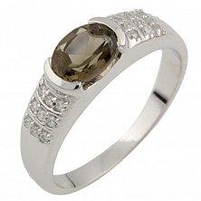 Серебряное кольцо Фатима с раухтопазом и фианитами