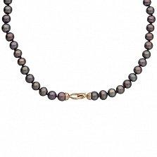 Ожерелье из черного жемчуга с золотым замком Сага