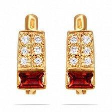 Золотые серьги Доминика с синтезированным рубином и фианитами