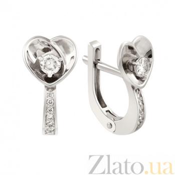 Серьги из белого золота с бриллиантами Верное сердце KBL--С2400/бел/брил