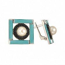 Серебряные серьги Ночное рандеву Беатрис с белым жемчугом, бирюзой и черными фианитами