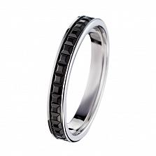 Обручальное кольцо Дорожка в белом золоте с черным родием в стиле Бушерон