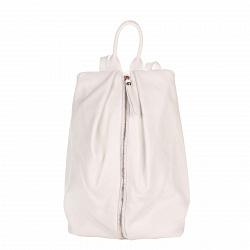 Кожаный рюкзак Genuine Leather 8706 белого цвета с вертикальной молнией