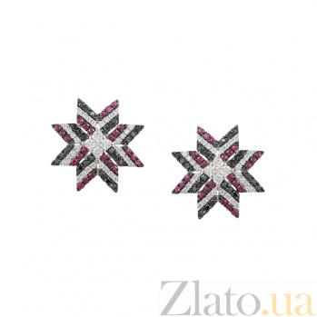 Золотые серьги-пуссеты Заря с рубинами и бриллиантами 000026611