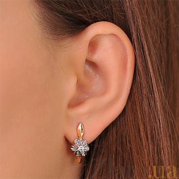 Золотые серьги с бриллиантом Орхидея EDM-С7496
