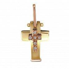 Крестик из желтого золота София с бриллиантами