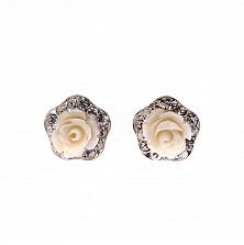 Серебряные серьги-пуссеты Розочки с белой керамикой и фианитами