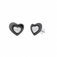 Серебряные серьги Асимметричные сердечки с черной керамикой и фианитами