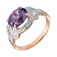 Золотое кольцо в комбинированном цвете с александритом и фианитами 000127231