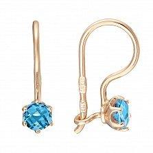 Золотые серьги Алиса в красном цвете с голубым цирконием