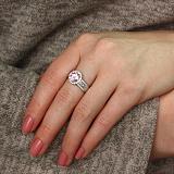 Серебряное кольцо Королевское с розовым фианитом