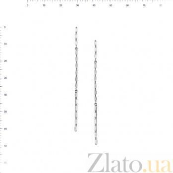 Серебряные серьги-подвески Дождик с фианитами 000081795