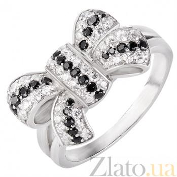 Серебряное кольцо Черно-белый бантик 160357
