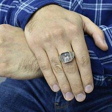 Серебряное кольцо-печатка Иисус с ликом, золотой накладкой и чернением
