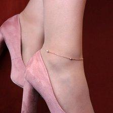 Браслет на ногу из красного золота Тарья с четырьмя завальцованными фианитами