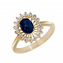 Кольцо из желтого золота Маркиза с сапфиром и бриллиантами