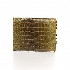 Кожаный клатч Genuine Leather 8075 зеленого цвета под кожу рептилии с цепочкой-ремешком на плечо
