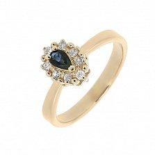 Золотое кольцо Фиона с сапфиром и лейкосапфирами