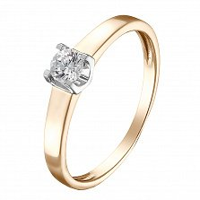 Золотое кольцо Элегия с бриллиантом в родированном касте