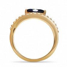 Золотое кольцо Царица Нифертити с сапфиром огранки маркиз и фианитами