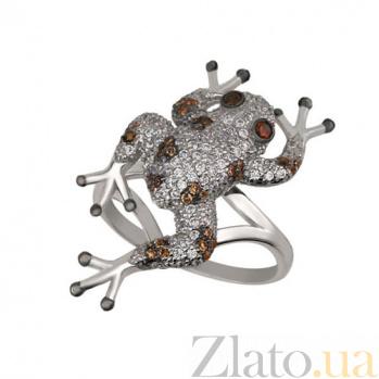 Кольцо из белого золота Лягушка с фианитами VLT--ТТ1054