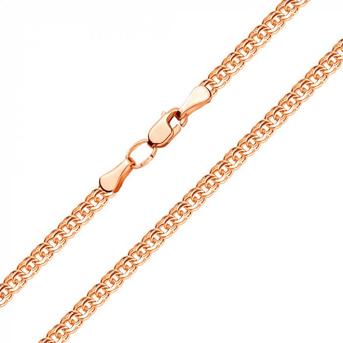 Цепочка из красного золота в плетении бисмарк с алмазной гранью, 3,5мм 000001523 EDM--Ц013-3