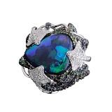 Золотое кольцо Скаты с австралийским опалом, сапфирами, гранатами и бриллиантами
