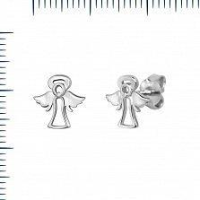 Серебряные серьги-пуссеты Ангелочки