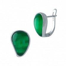 Серебряные серьги Фирусит с зеленым кошачьим глазом