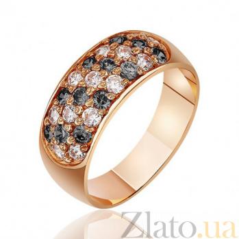 Золотое кольцо с черными и белыми фианитами Оксфорд EDM--КД045Ч