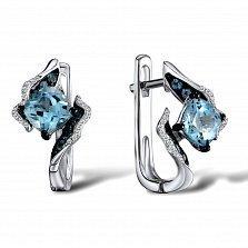 Золотые серьги Цветок души с голубыми топазами и бриллиантами