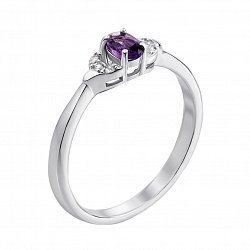 Серебряное кольцо с аметистом и фианитами 000121470