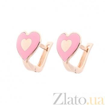 Детские золотые серьги-сердечки Любовь с цветной эмалью ONX--с03415