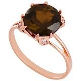 Золотое кольцо с раухтопазом и фианитами Эсфира